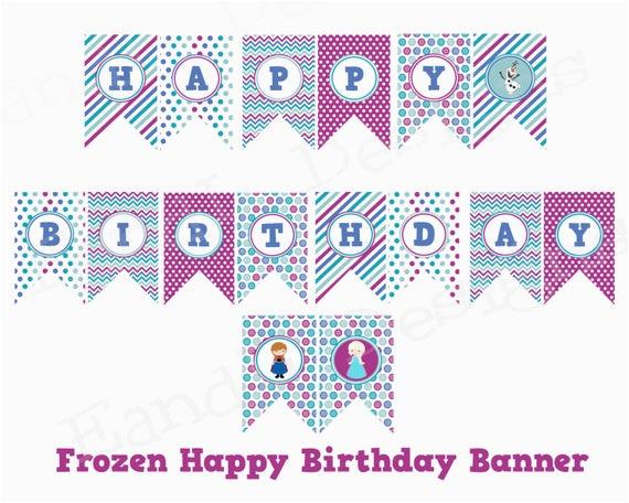 frozen happy birthday banner instant