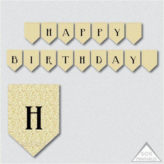 happy birthday banner gold glitter banner