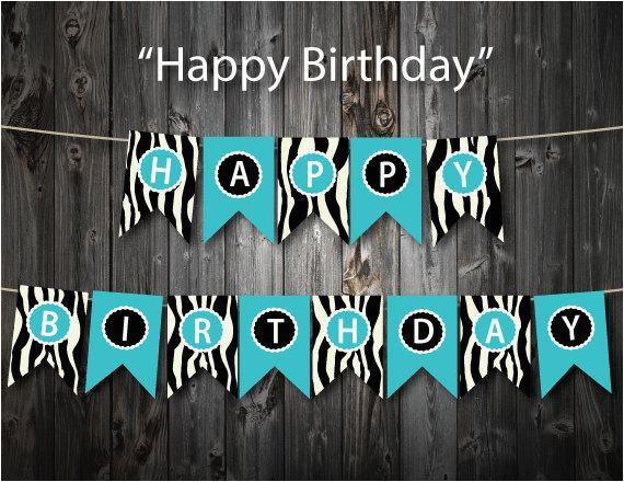 turquoise happy birthday banner