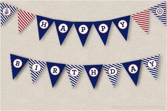 nautical birthday banner instant