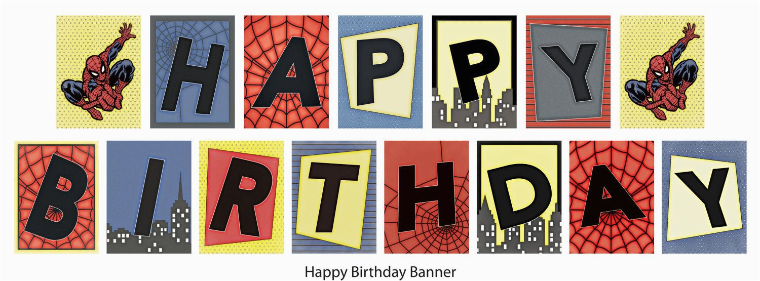 Happy Birthday Banner Printable Spiderman Birthday Spiderman Banner Printable Diy 14 99 Via Etsy