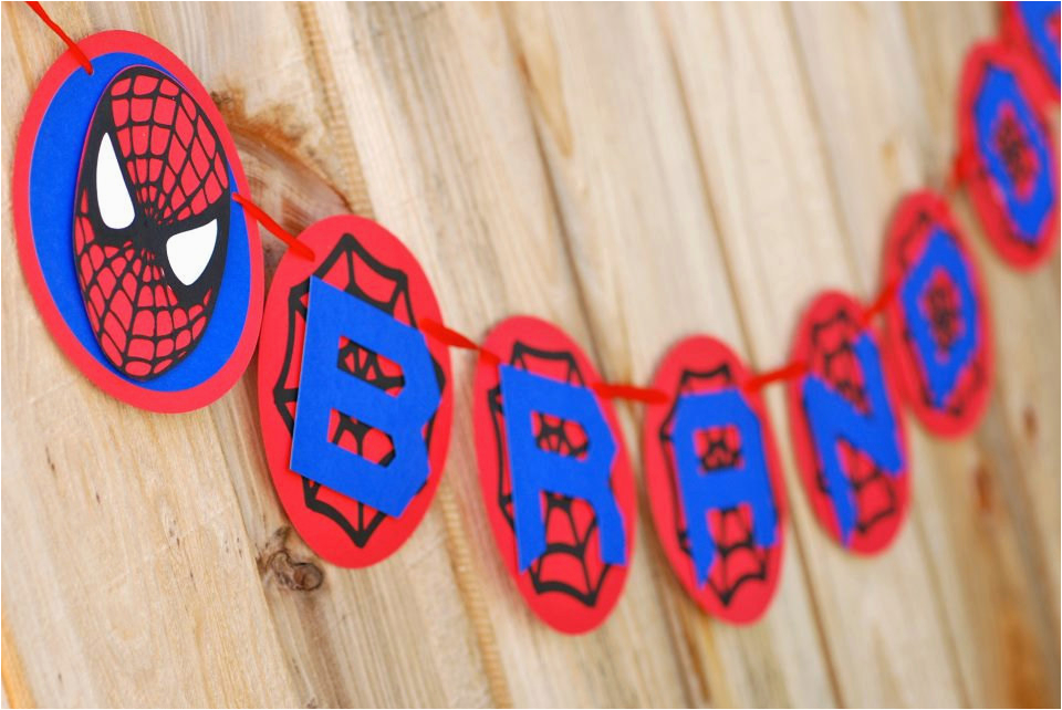 spiderman inspired happy birthday banner