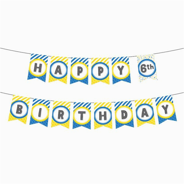 printable birthday banner in yellow blue