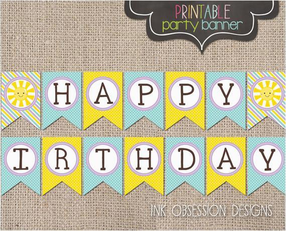 sunshine happy birthday banner instant