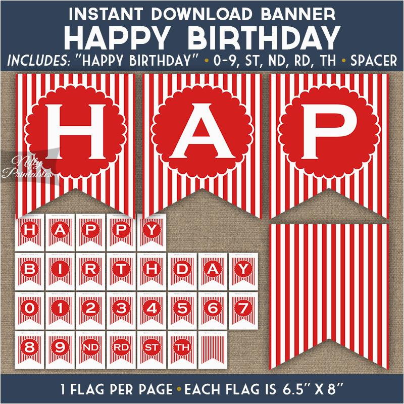 birthday banner red blue white stripe