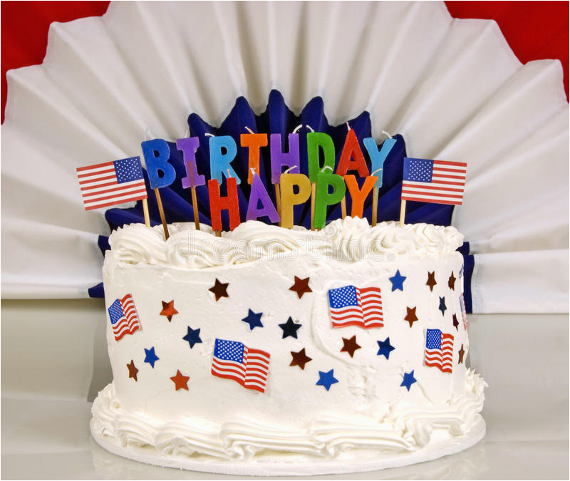 stock photo july th patriotic birthday cake red white blue unlit candles banner back image47477291