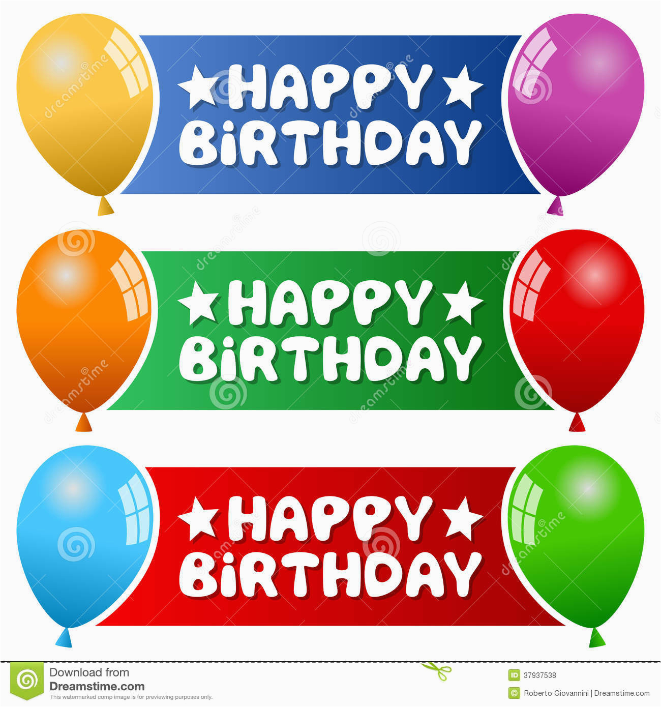 royalty free stock photos party balloons horizontal banners collection three happy birthday colorful blue green red background eps file image37937538