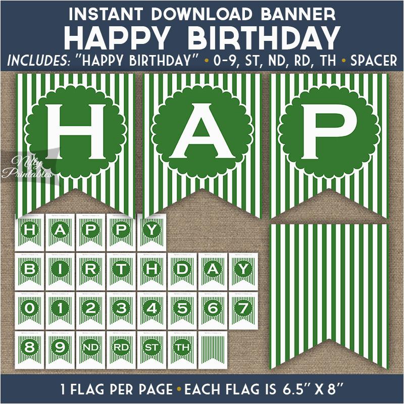 birthday banner green white stripe