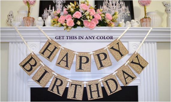 happy birthday banner rustic birthday