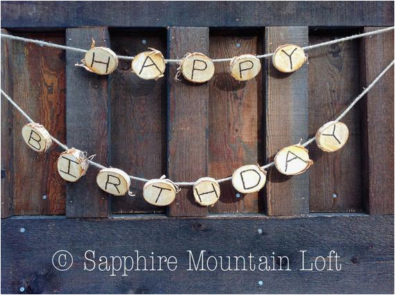 happy birthday banner rustic white birch