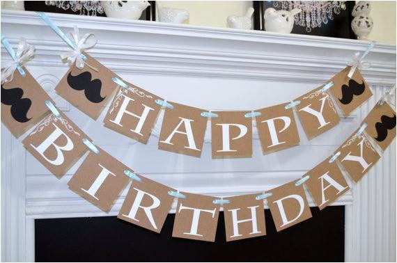 rustic happy birthday banner baby boy