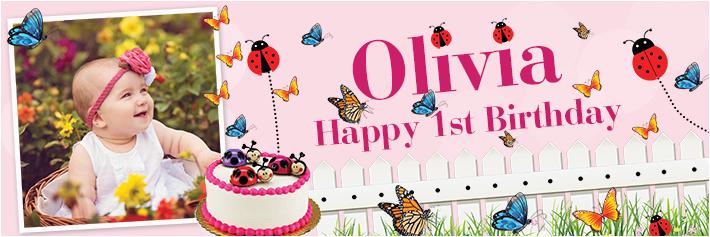 happy 1st birthday butterfly ladybird banner theme