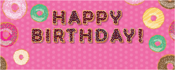 hot pink happy birthday donuts design personalised banner 4ft x 2ft