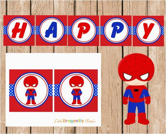 spiderman happy birthday banner instant