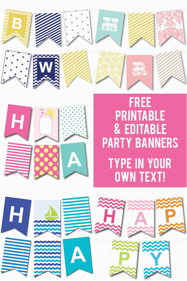 Happy Birthday Banner Template Editable Free Printable Editable Party Banners Tip Junkie