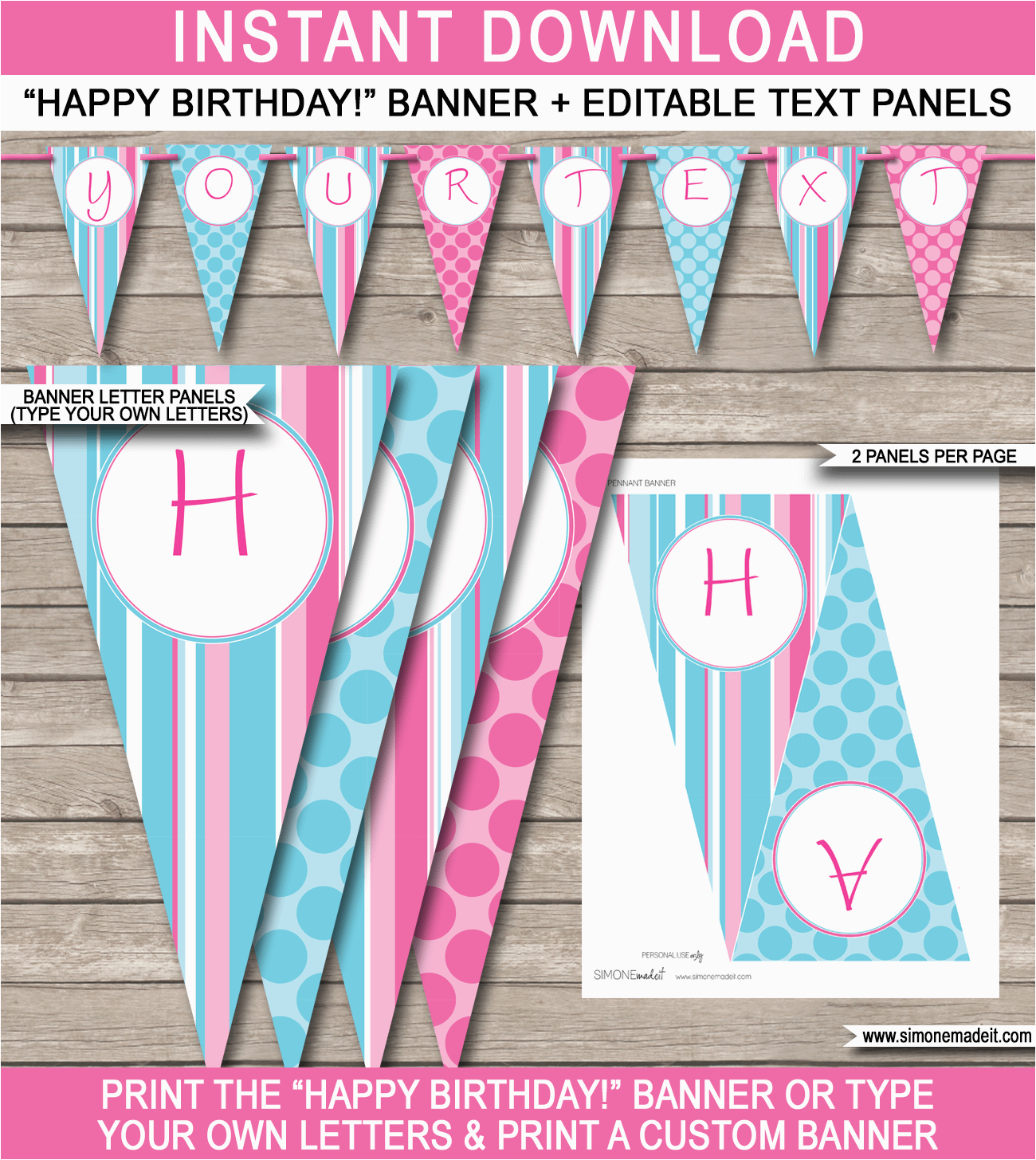 girls birthday party banner template