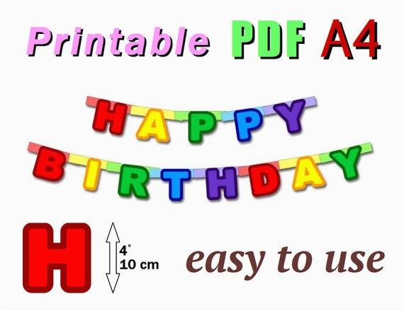 printable happy birthday banner pdf a4