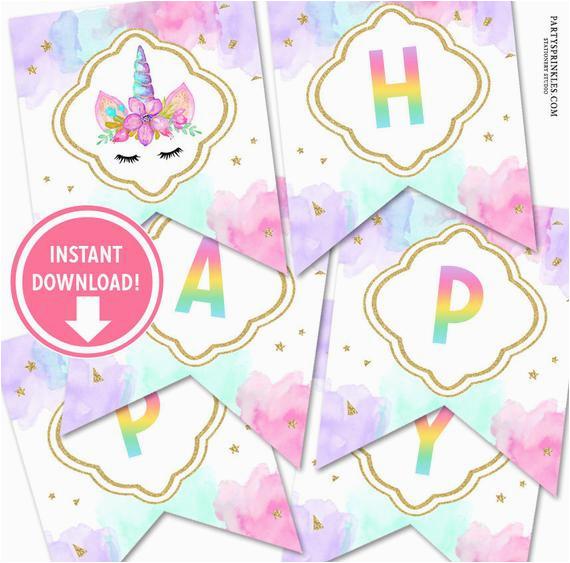 printable watercolors gold unicorn happy birthday