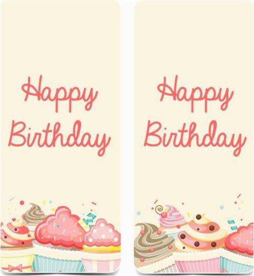 251715 birthday vertical banner with cupcake vector