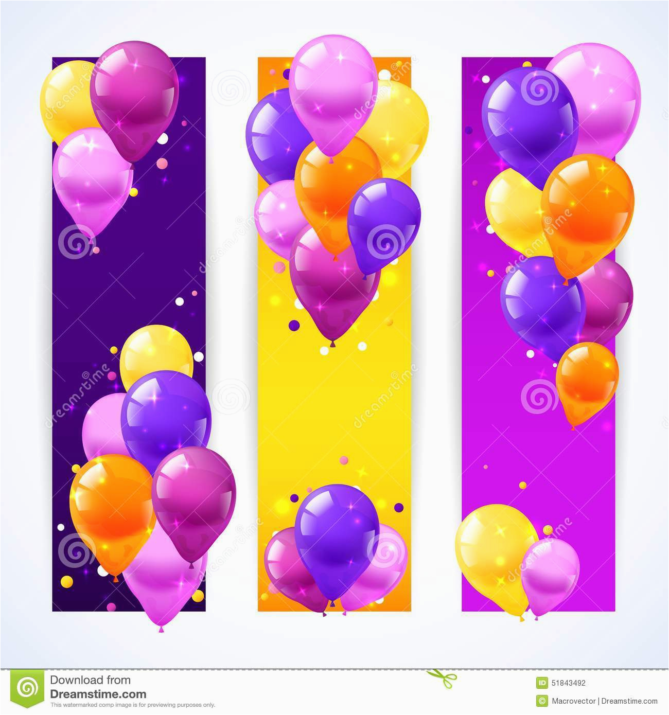 stock illustration colorful balloons banners vertical festival birthday set realistic air isolated vector illustration image51843492