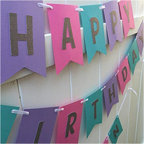 Happy Birthday Banner Violet Hot Pink Teal Purple and Silver Glitter Happy Birthday