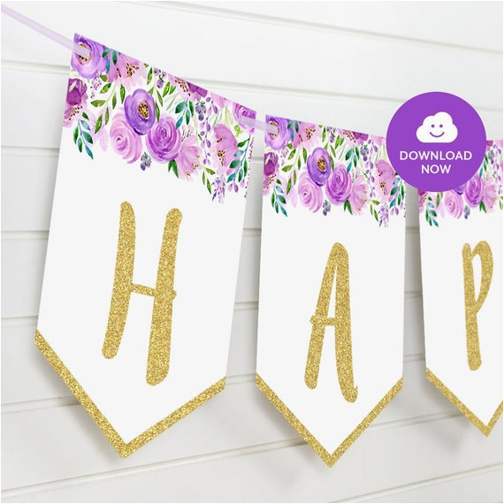 violet gold floral happy birthday bunting