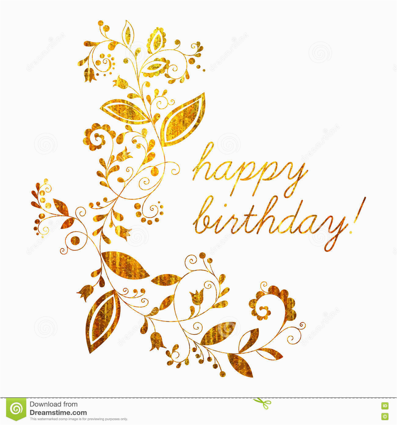 stock illustration gold greeting happy birthday card floral element doodle style white background hand drawn flourish border frame image75219224
