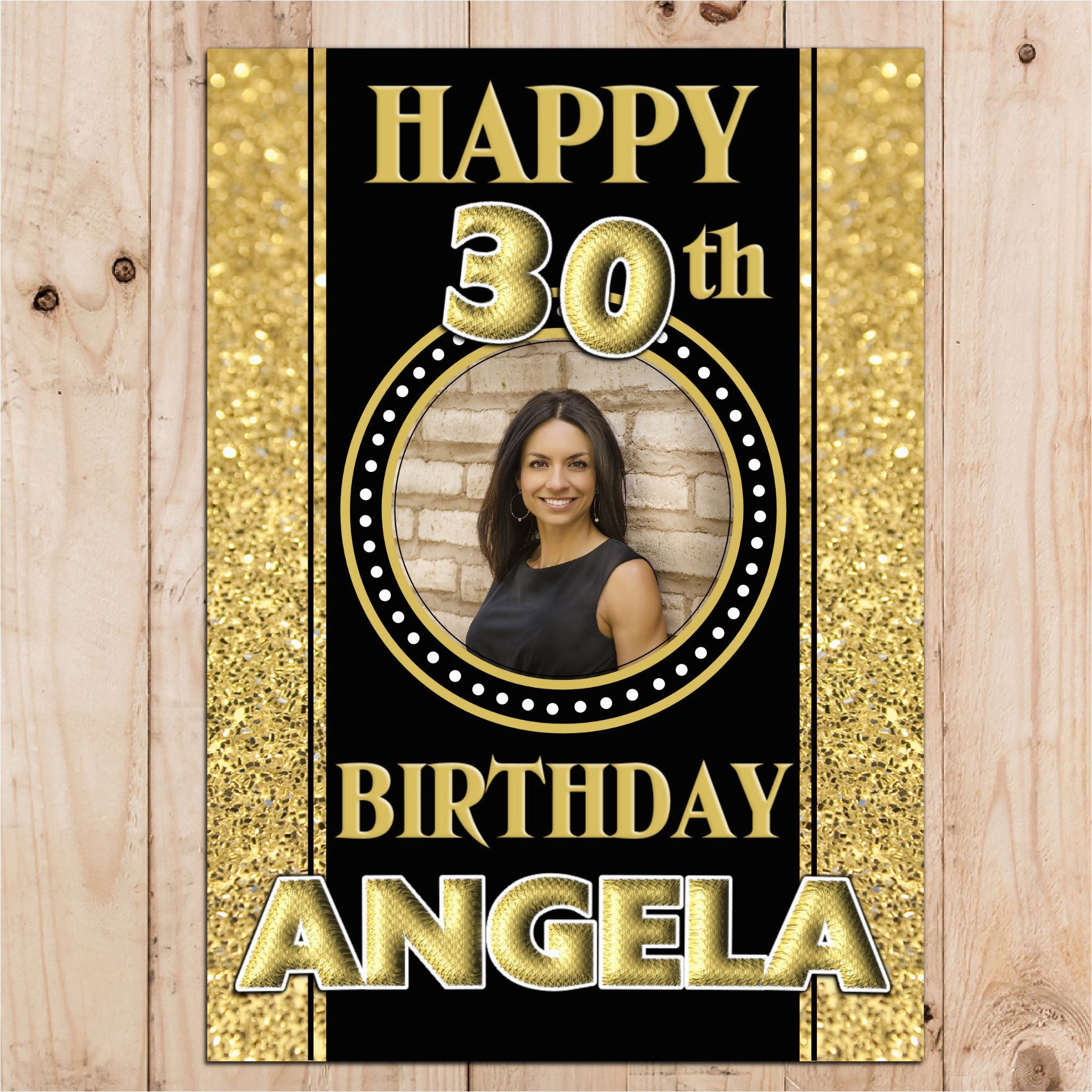 personalised black gold sparkle happy birthday photo poster banner n53 14059 p