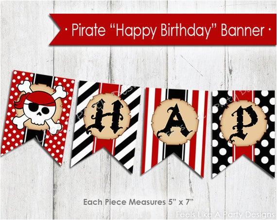 pirate happy birthday banner instant