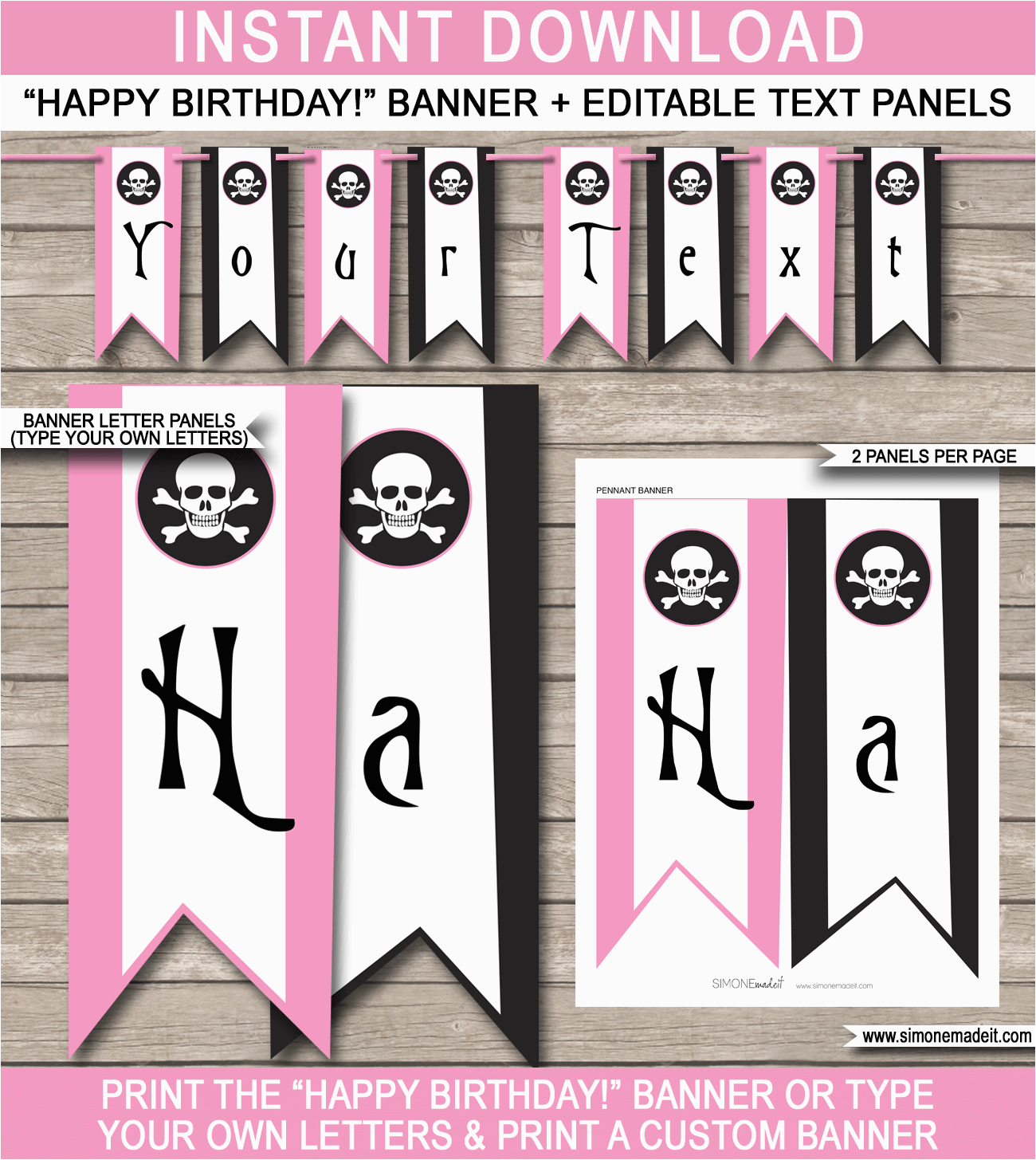 pirate girl party banner template
