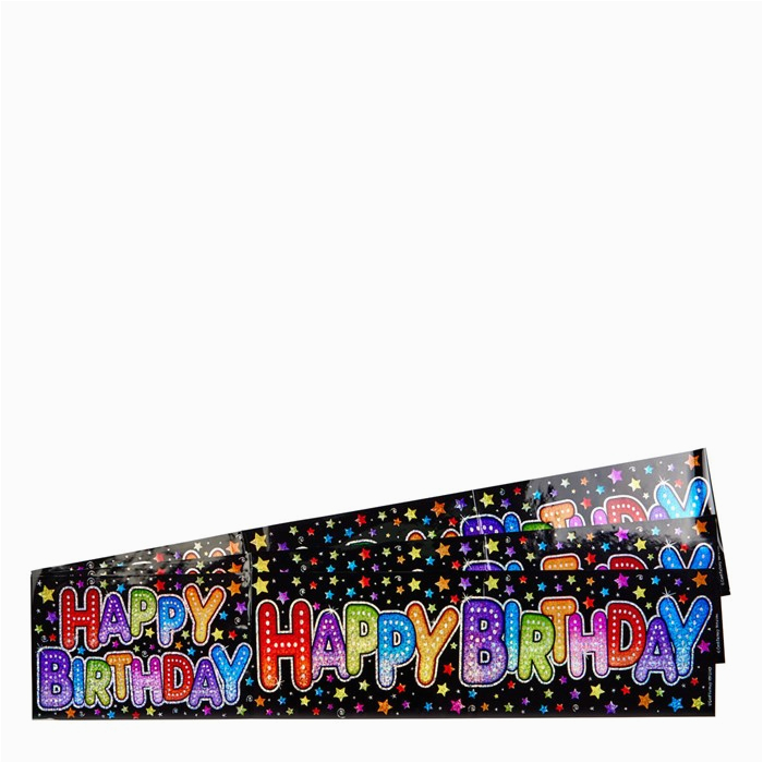 holographic black happy birthday party banners