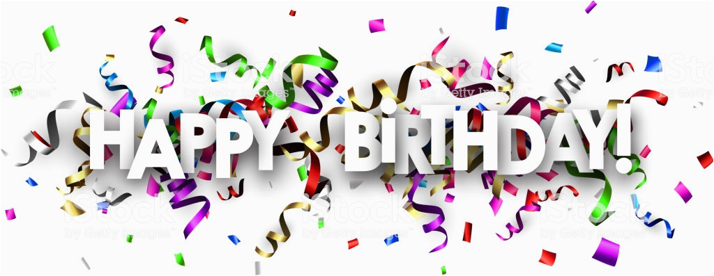 happy birthday banner with colorful serpentine gm866671486 144114493
