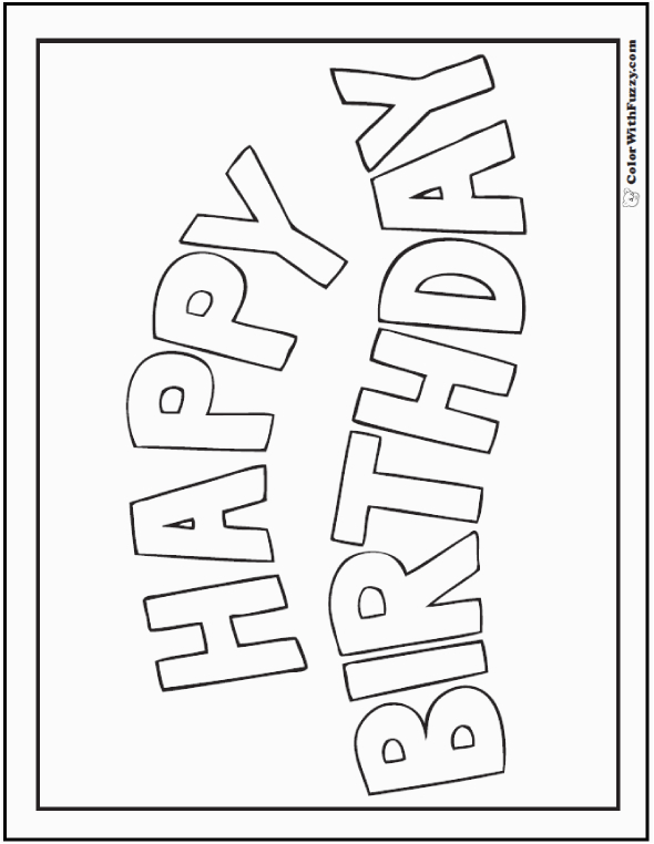 Happy Birthday Banners Coloring Page 55 Birthday Coloring Pages Customizable Pdf