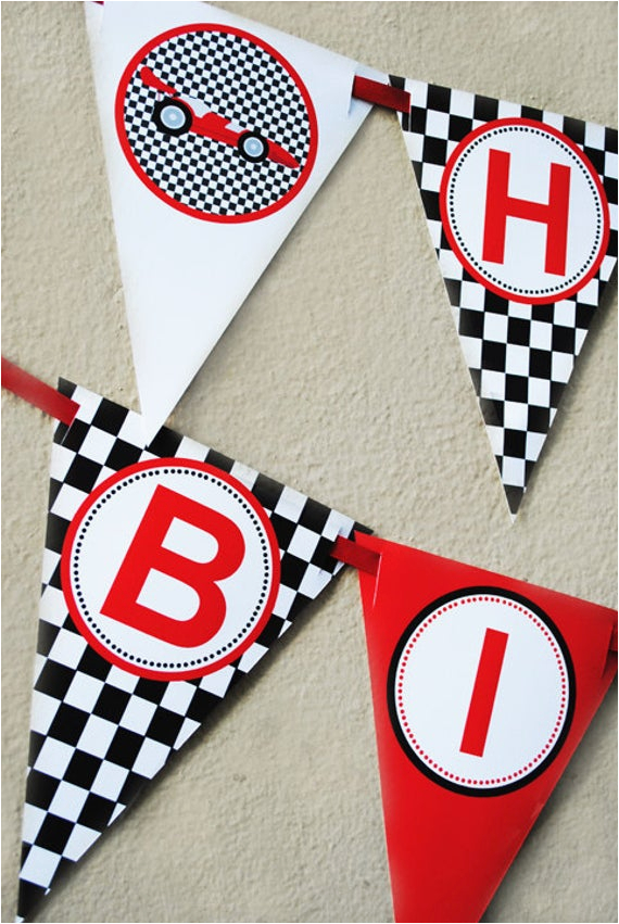race car happy birthday banner instant