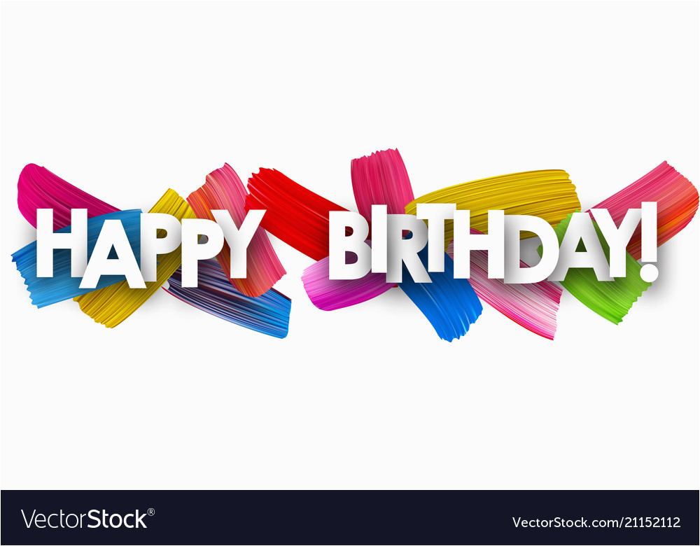 happy birthday banner with brush strokes vector 21152112