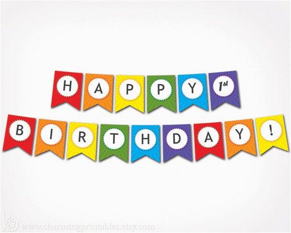 printable happy birthday banner rainbow