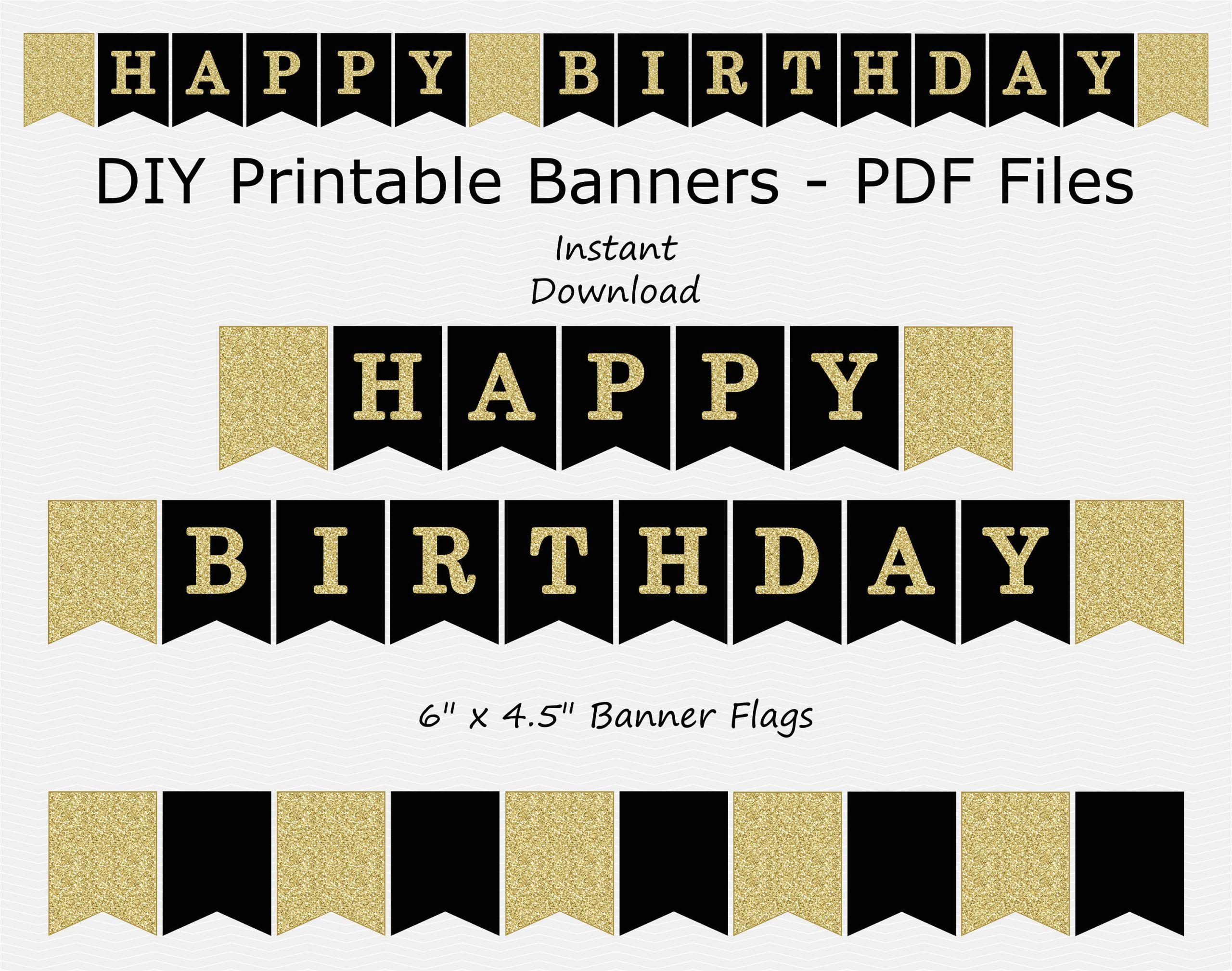 happy birthday banner black gold glitter