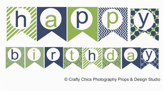 diy blue green happy birthday banner
