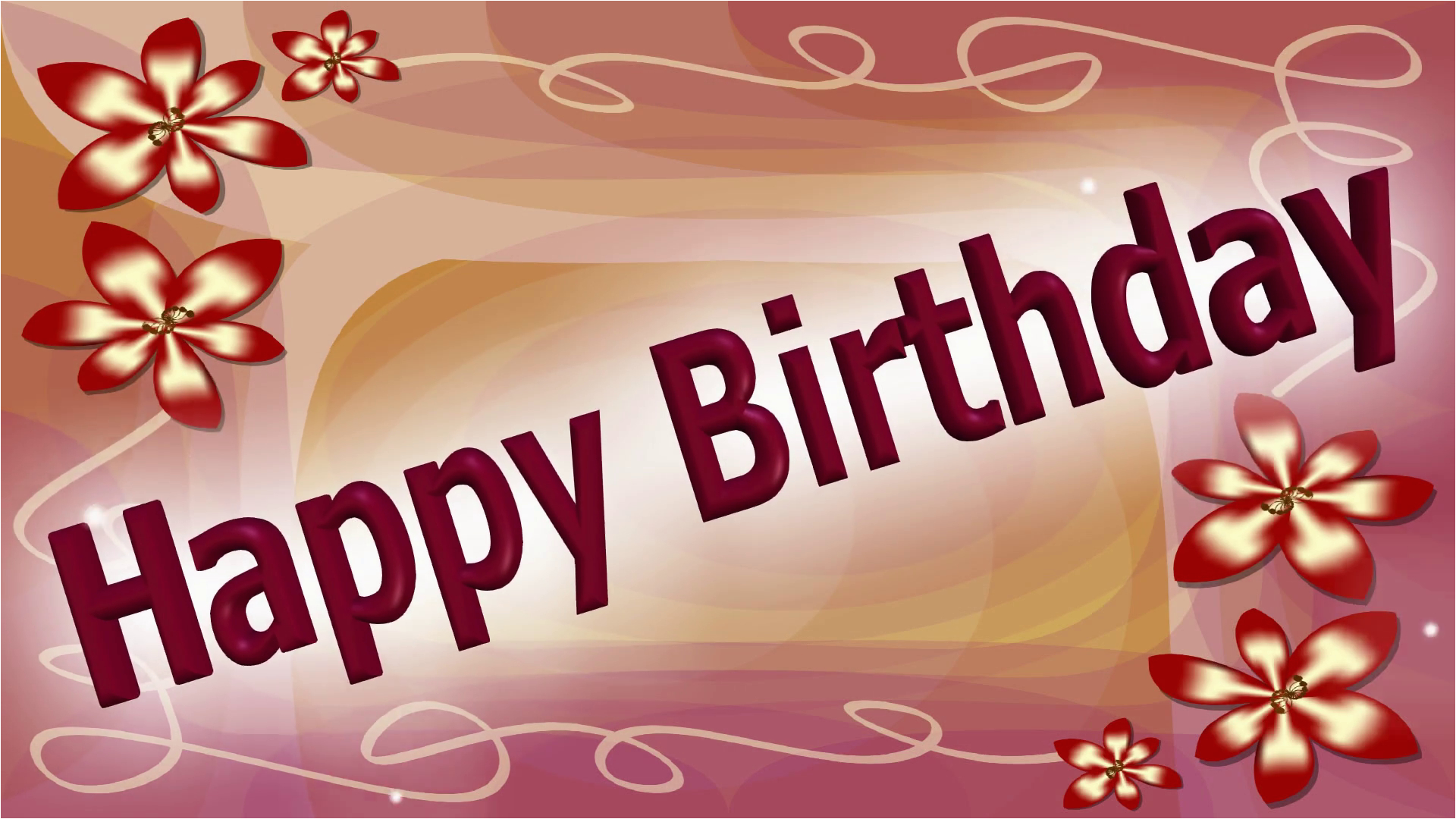 happy birthday banner with dancing and leaping letters on elegant pink abstract background with dark red flowers silver sparkle falling slowly over area buagh28mwj3ocb905