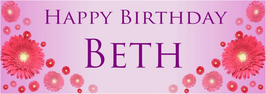 Happy Birthday Banners with Flowers Pink Flowers Birthday Banner Personalised Banners