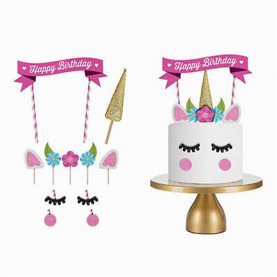 Happy Birthday Cake Banner Diy Glitter Unicorn Horn Happy Birthday Cake topper Banner