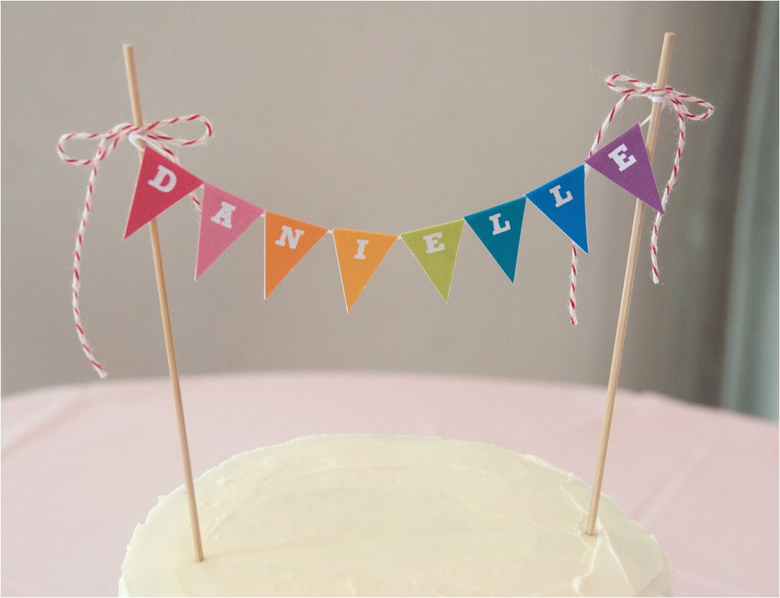 rainbow cake banner garland topper diy