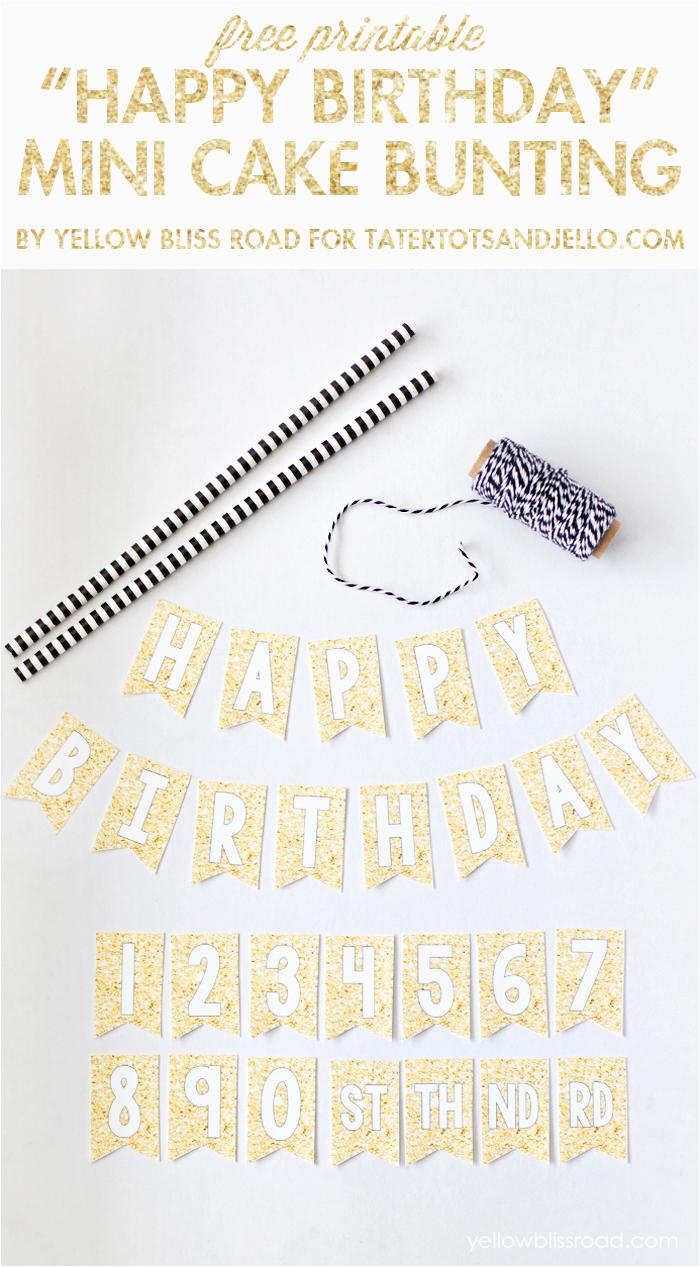 free printable happy birthday mini cake bunting