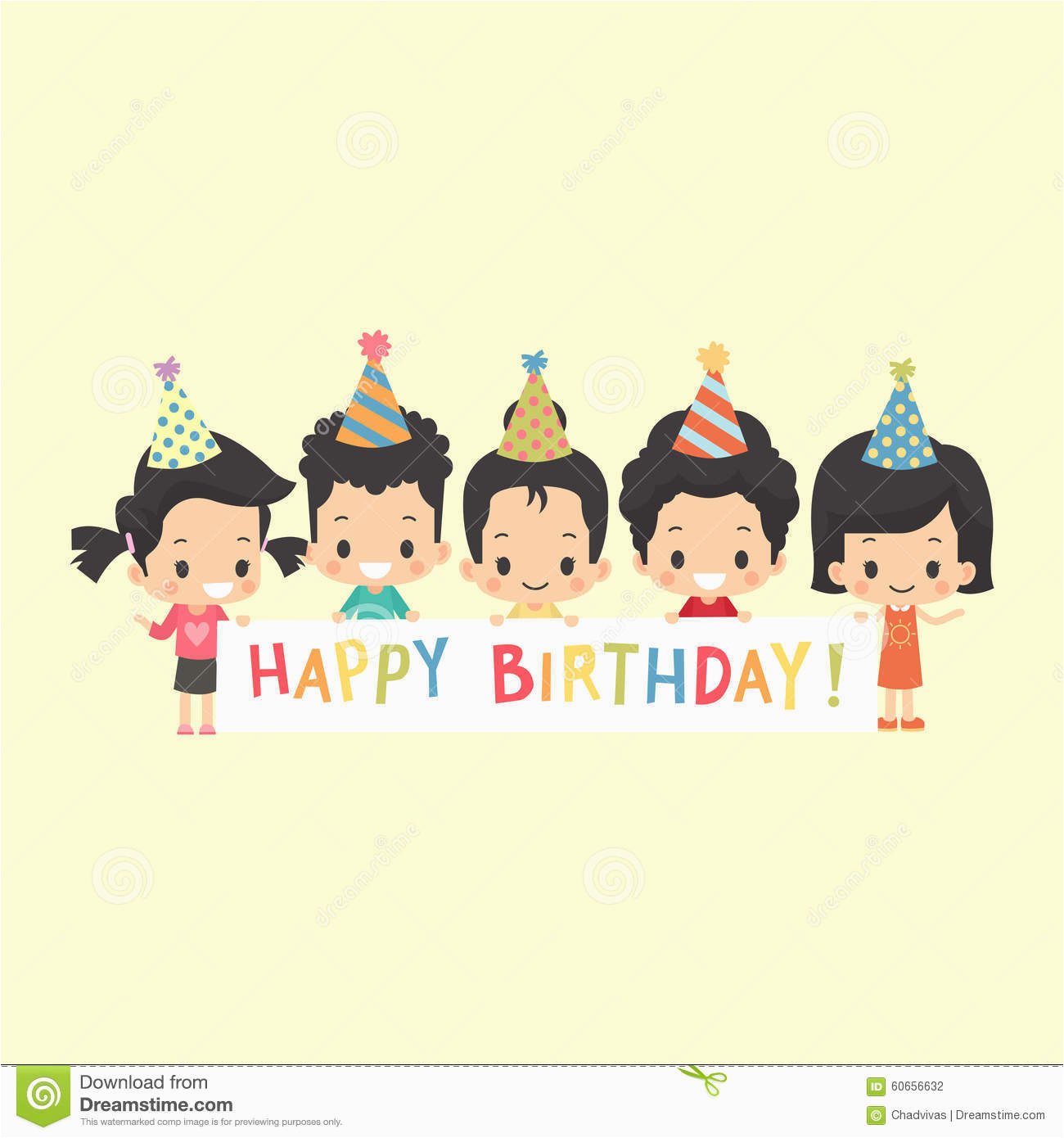 stock illustration asian kids happy birthday banner greeting white blank image60656632