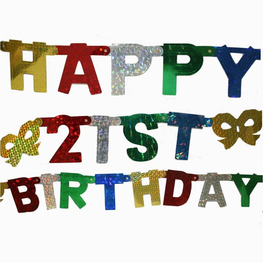banner jointed letter happy 21st birthday