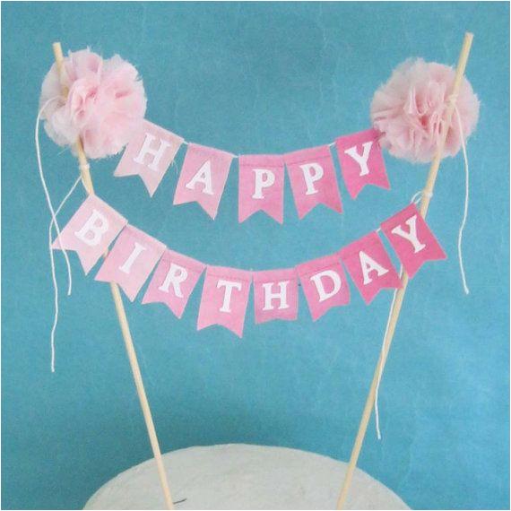 Happy Birthday Pennant Banner Cake topper Birthday Cake Banner Pink Ombre Quot Happy Birthday Quot Cake