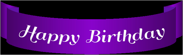 happy birthday purple banner png clip art