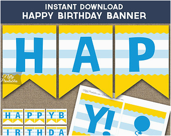 Happy Third Birthday Banner Birthday Banner Printable Happy Birthday Banner Black Gold