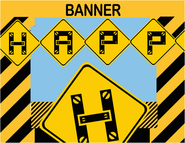 construction happy birthday banner instant download