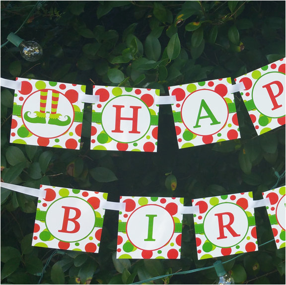 Instant Download Happy Birthday Banner Elf Feet Happy Birthday Banner Printable Instant Download